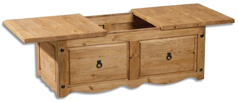Meubles en pin massif finition brut ou cire petit prix - Table basse coffre bois ...