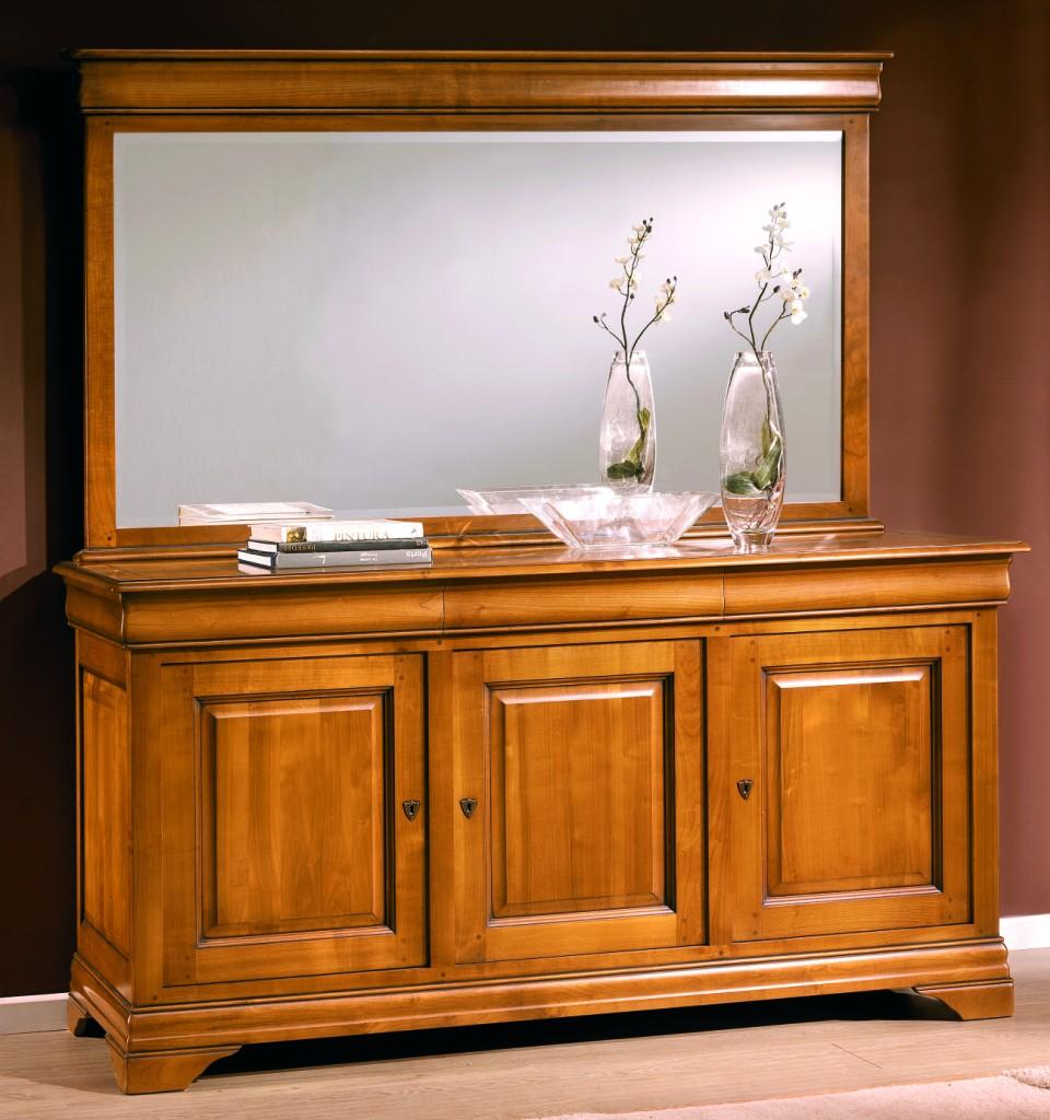 Salle manger meuble de sjour en merisier massif en for Miroir pour dessus de buffet