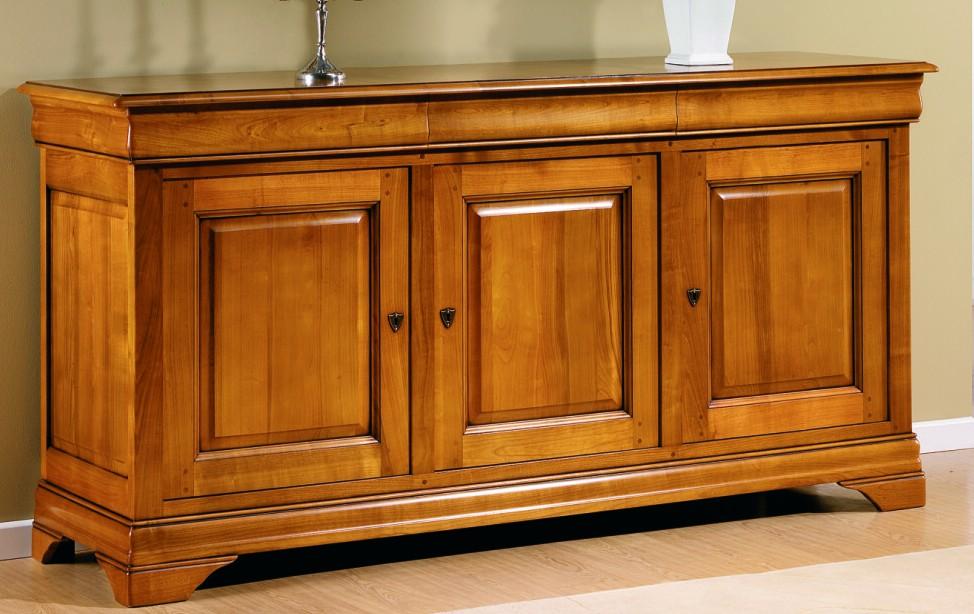 Salle manger rustique style contemporain chne merisier for Meuble tv xxl style louis philippe en pin
