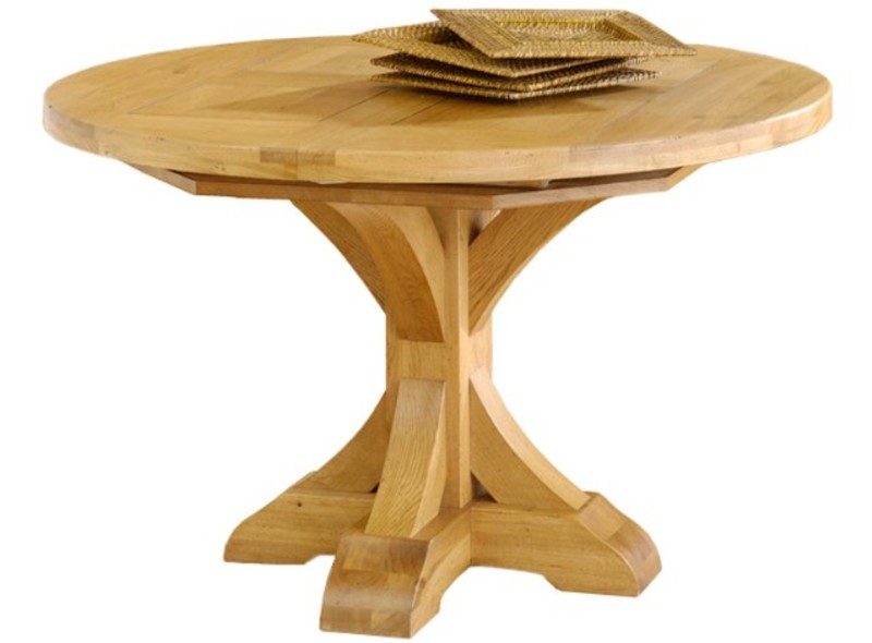 Table ronde pied central avec rallonge - Grande table ronde avec rallonge ...