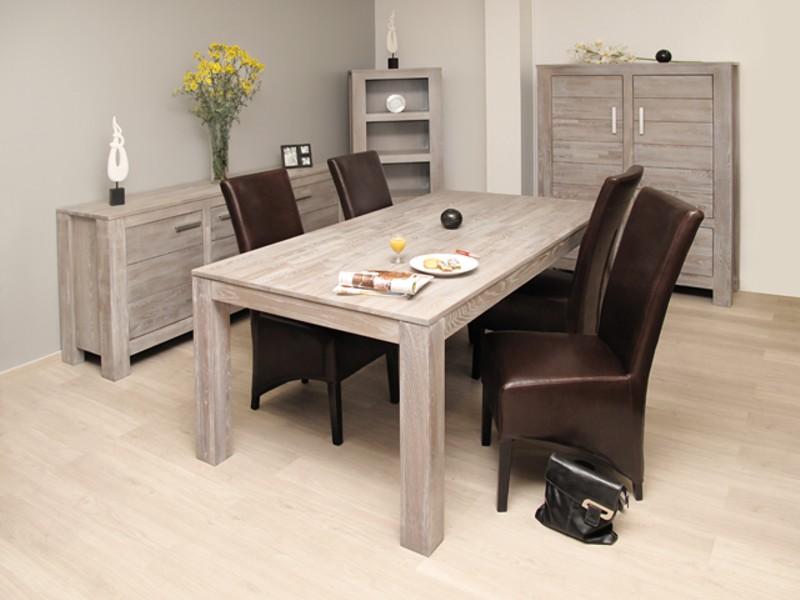 La collection rochefort une salle de sjour en accacia bross for Meuble salle a manger bois gris